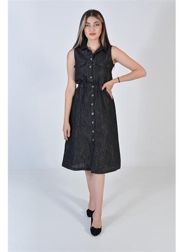 Zeren Kadın Siyah Belden Sıkma Düğmeli Elbise Siyah